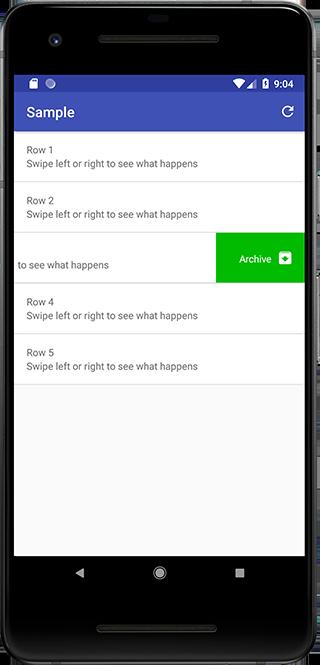 Sample app - Swipe left